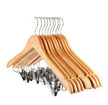 ナチュラル色 winkong 木製スーツハンガー クリップ付き 10本組