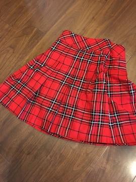 ひざ丈スカート☆★フレアミニスカート赤チェック柄