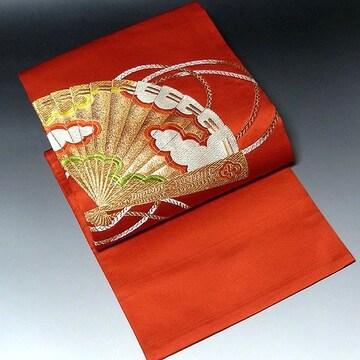 【名古屋帯】正絹 明るい朱地 刺繍 金彩 扇柄 アンティーク
