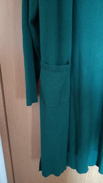 LLモスグリーンロングカーデ < 女性ファッションの