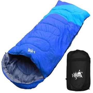 寝袋 ワイド 封筒型 最低使用温度 -5℃ ブルー