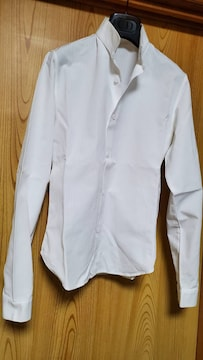 正規レア ディオールオム スタンドカラー 細身ドレスシャツ 白 シャドーストライプ 最小 36P