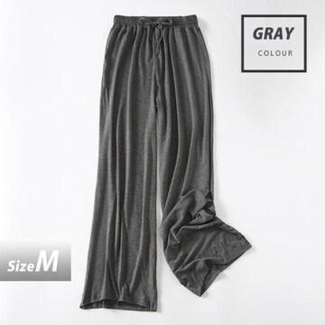 ワイドレッグパンツ ハイウエスト パンツ サイズM/グレー