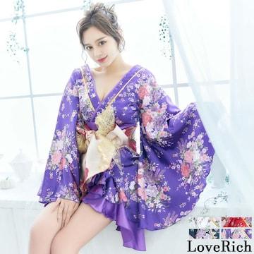 高品質 着物ドレス 豪華絢爛 帯付き フリル 花柄 花魁風
