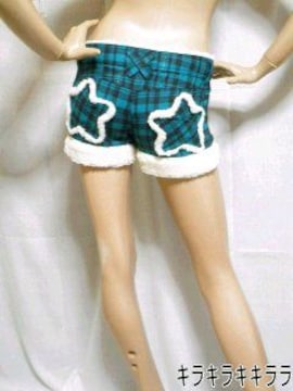 《New》スター型ポケット★タータンチェック柄・裾ボア*ショートパンツ<グリーンM>