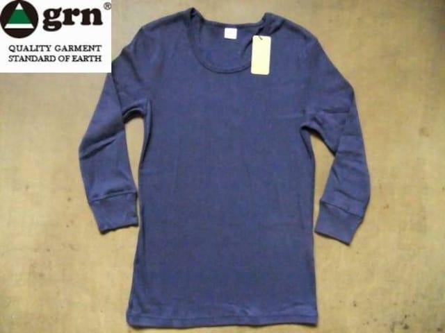 grn(ジーアールエヌ)年間使える 無地 7分袖 Tシャツ L ネイビー  < 男性ファッションの