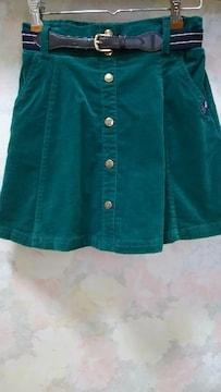 ピンクラテ/PINK-Iatte☆コーデュロイ緑インパン&ベルト付きスカート/160(S)