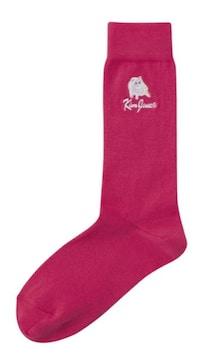 GU×キムジョーンズ・ロゴ&ネコ刺繍ソックス。ピンク