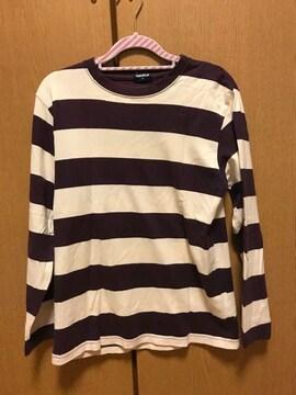UNIQLO☆紫×ベージュボーダーロンT☆S