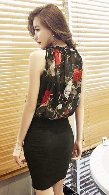 花柄ミニタイト ペプラムワンピース(S寸・黒) < 女性ファッションの