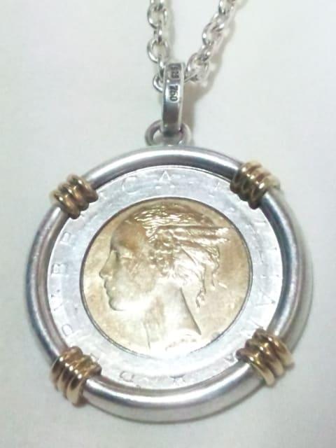 18金 SILVER 750 925 ITALIANA REPVBBLICA コイン ネックレス ペンダント  < 男性アクセサリー/時計の