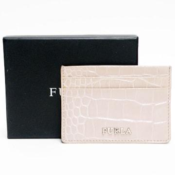FURLAフルラ カードケース 型押しレザー 薄ピンク 良品 正規品