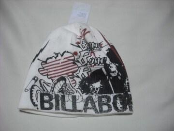 mb134 男 BILLABONG ビラボン 白 リバーシブル ニット帽