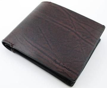 残り僅か☆新品 ポールスミス シワ加工 二つ折り財布 濃茶 f48