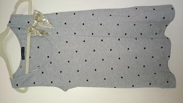 新品ハートの刺繍が可愛いスパンコールのリボン付きタンクトップ