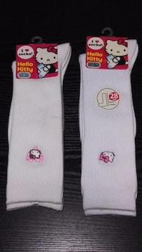 新品 Hello Kittyワンポイントスクールソックス2足組(23〜25�p)白[長さ28�p]