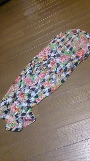 GJ☆お花ブロックチェック柄☆スカーフ付きシフォンワンピ☆ブラック☆美品 < ブランドの