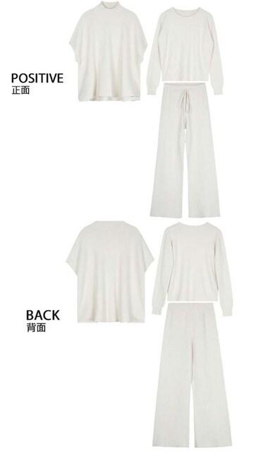 TS7即決 新品 ニット セットアップ 白 マウジー イング GU ユニクロ 好きに < 女性ファッションの