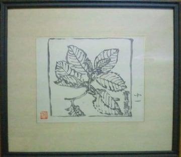 絵画 武者小路実篤『カシワの木』署名印 孫の錦子サインシール付き 真作
