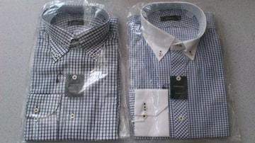 激安87%オフまとめ売り、長袖シャツ2枚(新品タグ、白青、チェック、M)