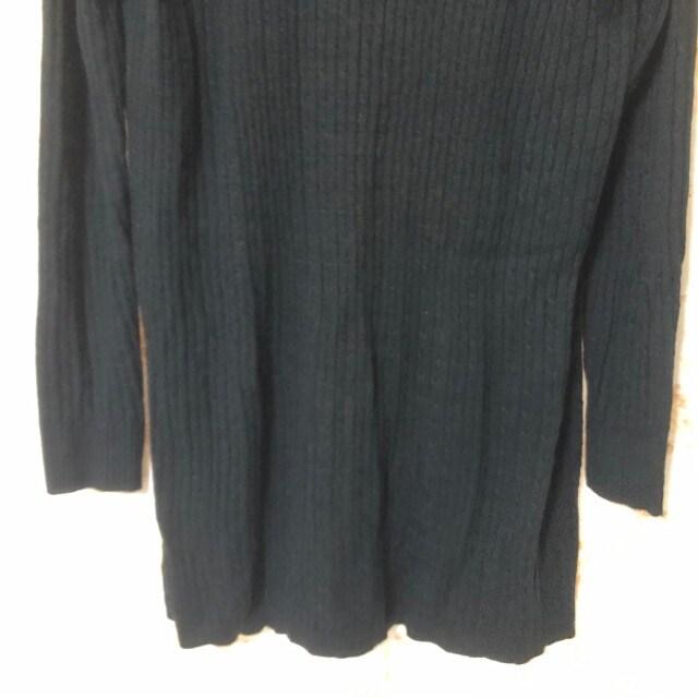 リブ ロングカーディガン ブラックM < 女性ファッションの