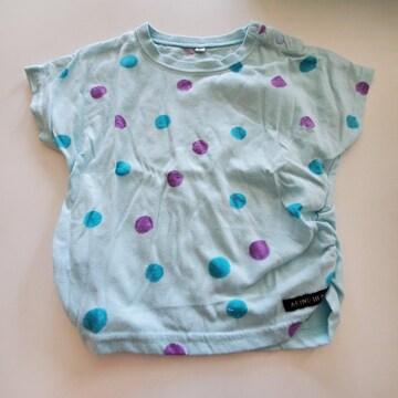 水色に水玉の半袖Tシャツ90