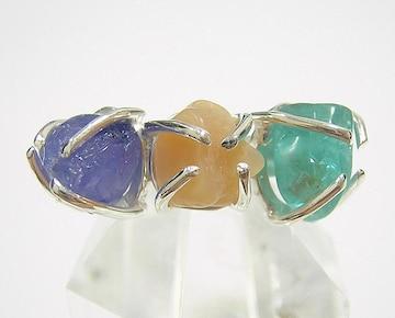 『3種類の原石』 デザインリング 指輪 アパタイト タンザナイト