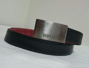 正規レア BVLGARIブルガリ プレートロゴバックルリバーシブルベルト黒×赤 調節可