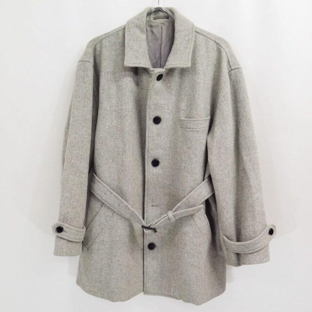 1989 コムデギャルソン オム ツイード ウール ベルテッド コート ビンテージ 80s  < ブランドの