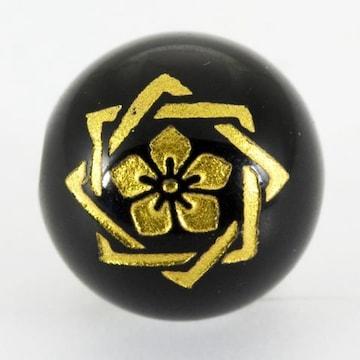 オニキス家紋彫刻ビーズ12mm(金色)「坂本龍馬」