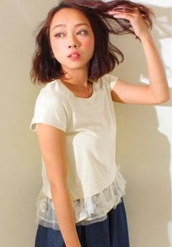 Settimissimo白チュールペプラムフラワー花柄カットソーTシャツ