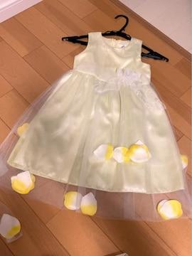 クリーム色花びら飾り花リボン首元が可愛い姫ドレス110結婚式に