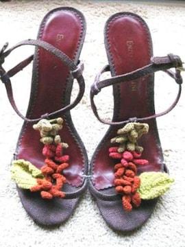 定価2万円 エンゾー 編み上げ 花 モチーフ サンダル 24.5cm ENZO