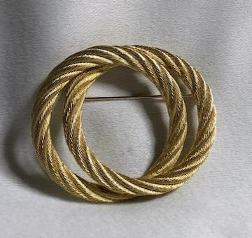 正規新古レア Diorディオール 2連ダブルオーバルブローチ ゴールド ラウンドワイヤー