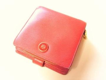 ロエベ  カーフ製ラウンドジップ小銭入れ付き折り財布 レッド