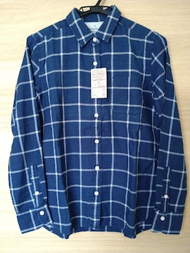 MUJI 無印良品 インディゴチェックシャツ S 新品タグ付き