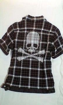 ROENロエン スタッズ装飾ブリーチスカルチェックシャツ 44
