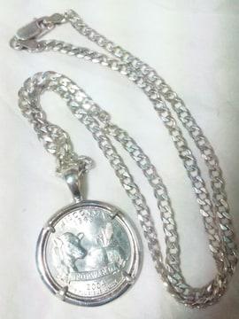 スターリングシルバー SILVER925 コイン アメリカ ウィスコンシン州 ネックレス 24g