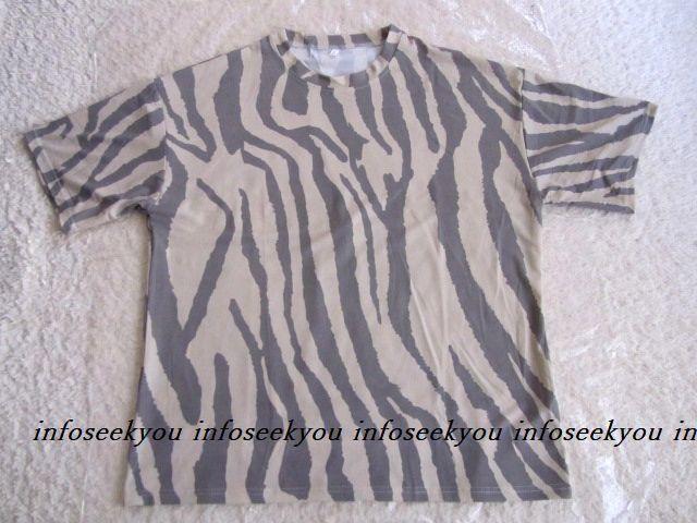 LL3L大きいサイズ/ゼブラ風Tシャツ/ベージュxグレー < 女性ファッションの