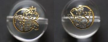 ☆仁王像(阿吽)の彫りビーズセット☆天然水晶16mm各1個