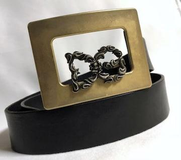 正規良 ドルチェ&ガッバーナ バロック DGローズロゴ×スクエアバックルベルト黒×金 90
