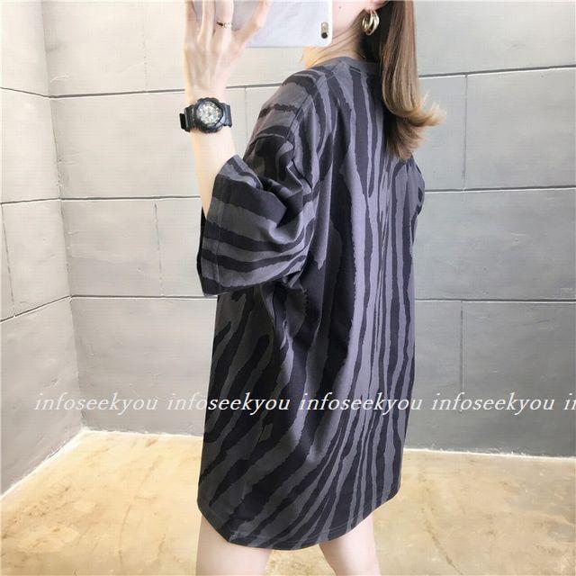 LL3L大きいサイズ/ゼブラ風Tシャツ/グレーxダークグレー < 女性ファッションの