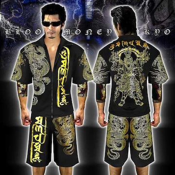 送料無料半袖セットアップジャージ上下/チョイ悪ヤクザヤンキーチンピラ服16003黒-XL