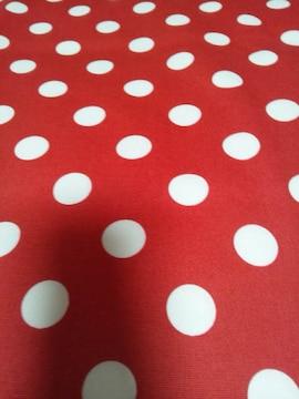 ☆赤×白ドット柄カットクロスはぎれ生地114×50