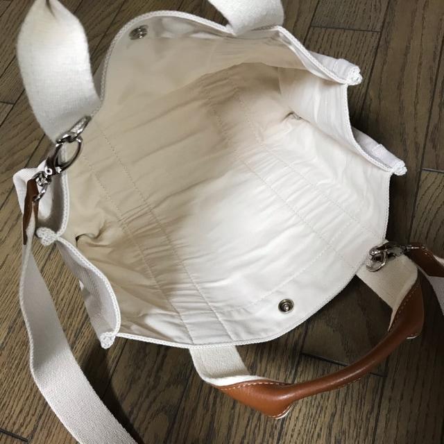 ライトベージュ×キャメルキャンバストートバッグ ハンドバッグ < 女性ファッションの
