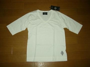 新品CRIMIEクライミー6分丈カットソー S白 Vネック ロンTシャツ