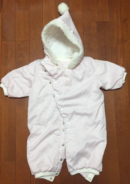 女の子赤ちゃん☆フード付ピンクコート上着  < キッズ/ベビーの