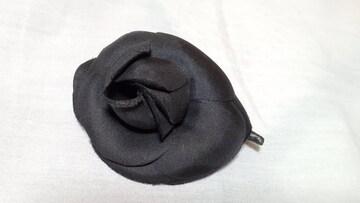 正規美 レア シャネル 小さめ カメリアブローチ黒 5.5 ブラックフラワー★ミニマル コサージュ