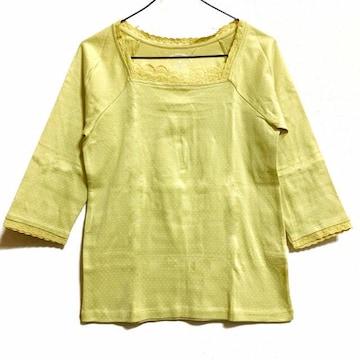 【美品】スクエア首コットン7分袖Tシャツ/M/イエロー/綿100%