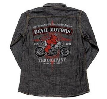 テッドマン/シャンブレーシャツ/ブラック/tshb-1500/エフ商会/カミナリモータース/ワークシャツ
